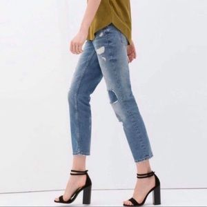 ZARA Woman Distressed Relaxed Fit Mid Rise Jeans 4